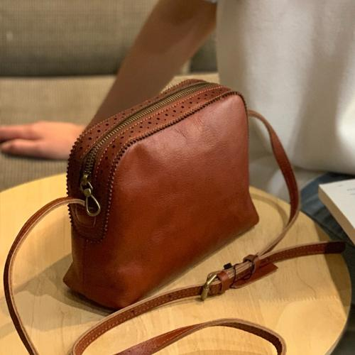 Brown Leather Crossbody Bag Small Satchel Purse Zip Shoulder Bag