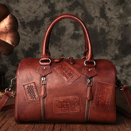 Vintage Leather Purse Boston Handbags Purse Shoulder Crossbody Bags