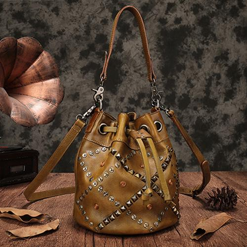 Vintage Bucket Bag Leather Drawstring Bucket Bag Shoulder Bag