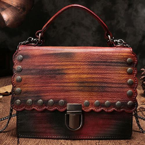 Vintage Leather Purse Satchel Handbags Shoulder Crossbody Bags