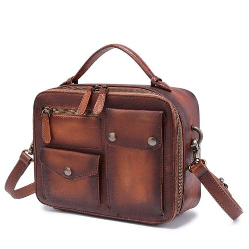 Brown Vintage Satchel Bag Leather Side Shoulder Bag