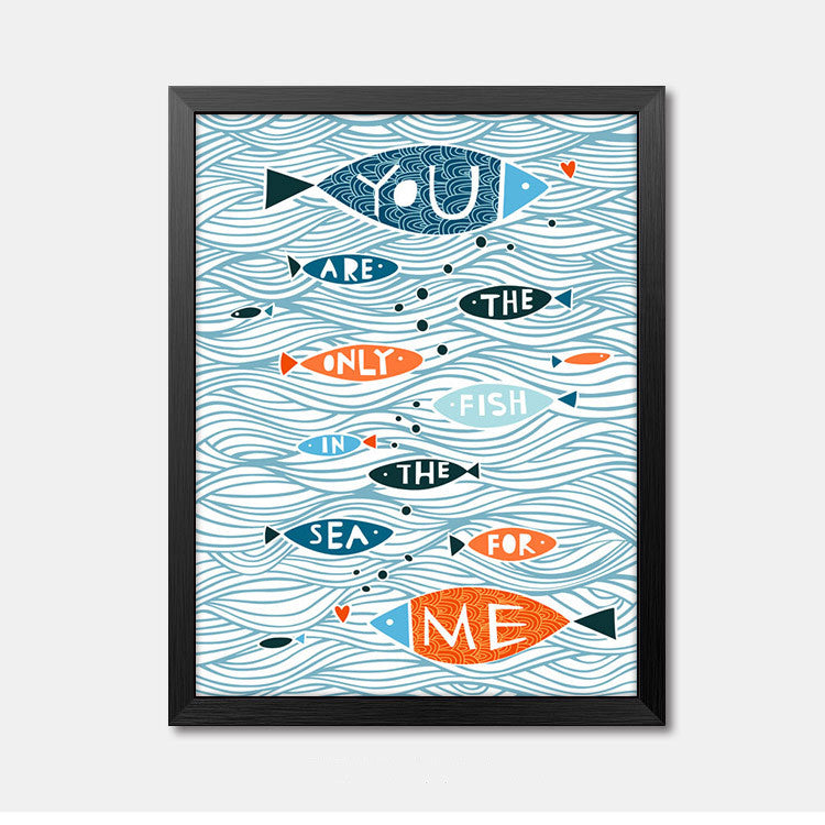 Nursery Wall Art Framed Poster quote fish Framed Art Animal Decor frame print gallery wall frame set home decor