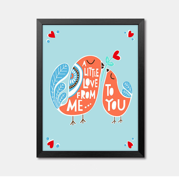 Nursery Wall Art Framed Poster quote A Little Love Framed Art Animal Decor frame print gallery wall frame set home decor