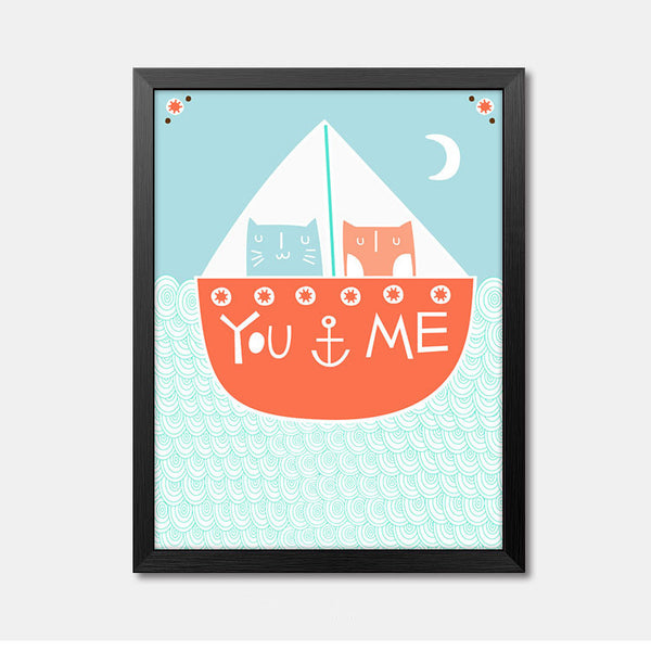 Nursery Wall Art Framed Poster quote You & Me Framed Art Animal Decor frame print gallery wall frame set home decor