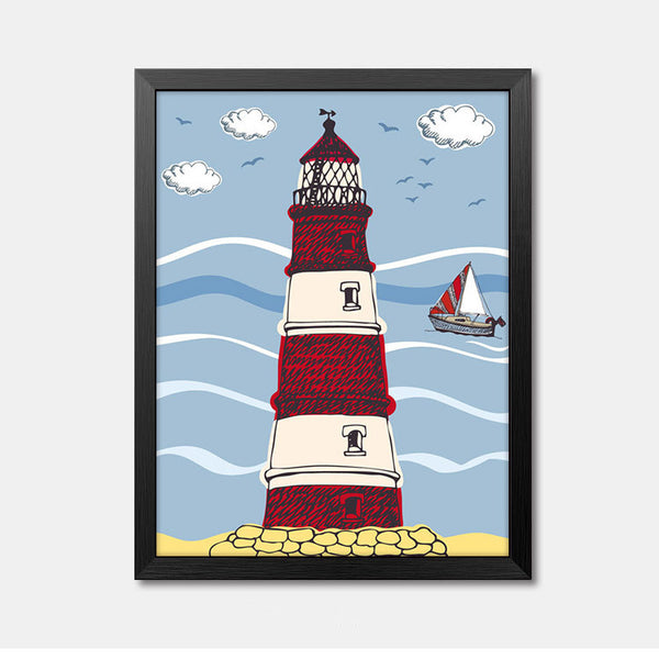 Nursery Wall Art Framed Poster lighthouse Framed Art Animal Decor frame print gallery wall frame set home decor