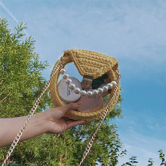 Cute Round White(No Flap) Crochet Crossbody Purse PMMA Crochet Shoulder Round Handbag for Girl Circle Crochet Crossbody Purses