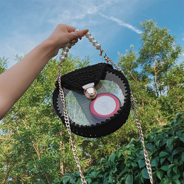 Cute Round Black(Flap) Crochet Crossbody Purse PMMA Crochet Shoulder Round Handbag for Girl Circle Crochet Crossbody Purses