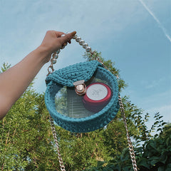 Cute Round Blue&Pink&Yellow(Flap) Crochet Crossbody Purse PMMA Crochet Shoulder Round Handbag for Girl Circle Crochet Crossbody Purses