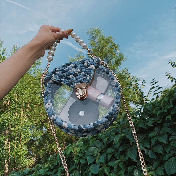 Cute Round Blue&White(Flap) Crochet Crossbody Purse PMMA Crochet Shoulder Round Handbag for Girl Circle Crochet Crossbody Purses