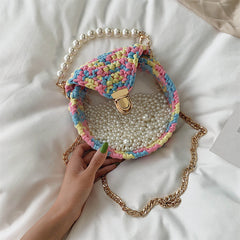 Cute Round Shining(No Flap) Crochet Crossbody Purse PMMA Crochet Shoulder Round Handbag for Girl Circle Crochet Crossbody Purses