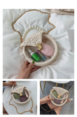 Cute Round Purple(Flap) Crochet Crossbody Purse PMMA Crochet Shoulder Round Handbag for Girl Circle Crochet Crossbody Purses