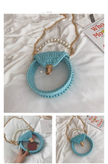 Cute Round White(Flap) Crochet Crossbody Purse PMMA Crochet Shoulder Round Handbag for Girl Circle Crochet Crossbody Purses