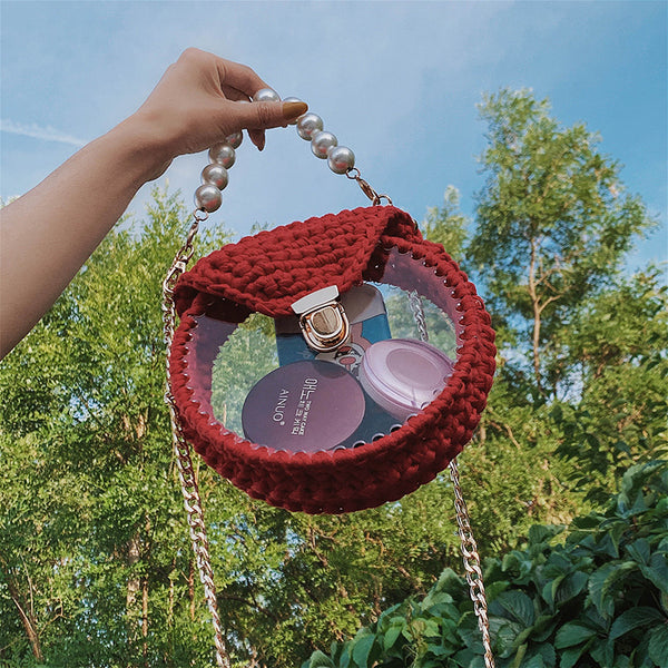 Cute Round Red(Flap) Crochet Crossbody Purse PMMA Crochet Shoulder Round Handbag for Girl Circle Crochet Crossbody Purses