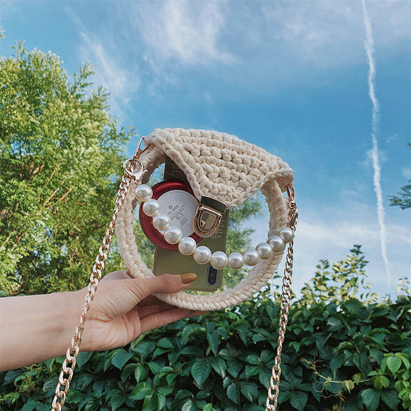 Cute Round Beige(Flap) Crochet Crossbody Purse PMMA Crochet Shoulder Round Handbag for Girl Circle Crochet Crossbody Purses