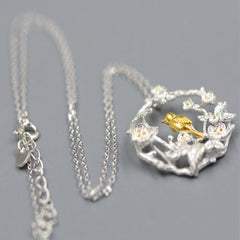 Sliver Necklace Branches Dove Bird Sparrow Flowers Garland Pendant Gift Jewelry Cute Accessories Women