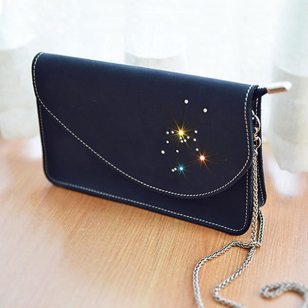 PERSONALIZED MONOGRAMMED GIFT CUSTOM HANDMADE Chain LEATHER CUTE Constellation SHOULDER BAG PURSE CROSSBODY BAG PURSE for Women