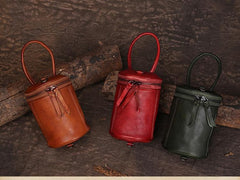 Red Vintage Leather Clutch Small Bucket Bags Purses