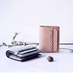 Handmade leather long women short braided tooled wallet wallet purse wallet