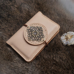 Handmade leather vintage women short cards wallet wallet purse wallet