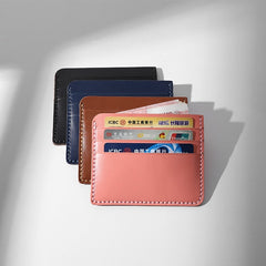 Handmade Leather Women Navy Blue Slim Front Pocket Wallet Personalized Monogrammed Gift Custom Short Cute Small Wallet Card Holders Purse