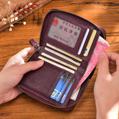Handmade leather vintage women multi cards zip short wallet purse wallet