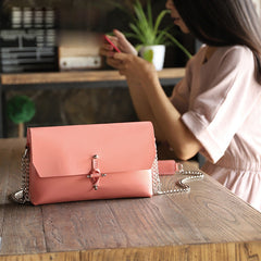 Handmade Leather Pink Cute Women Chain Shoulder Bag Purse Personalized Monogrammed Gift Custom Chain Crossbody Bag Purse