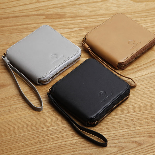 Genuine Leather Cute Short Slim Zipper Wallet Card Holder Wallet Purse For Women Girl