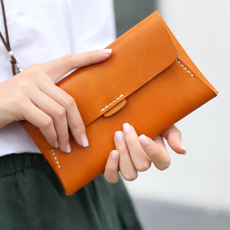 369f465932e4 Handmade leather vintage women long multi cards wallet clutch purse ...