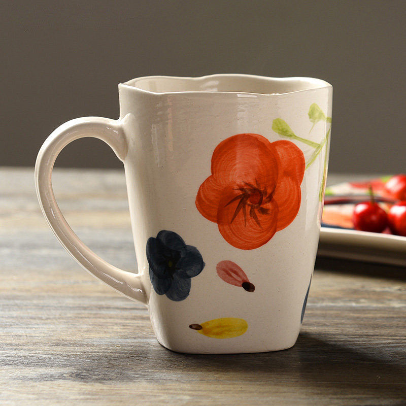 Handmade cute colorful flowers oversized tea cup tall pottery funny coffee milk mug painted big large coffee cup ceramic vintage