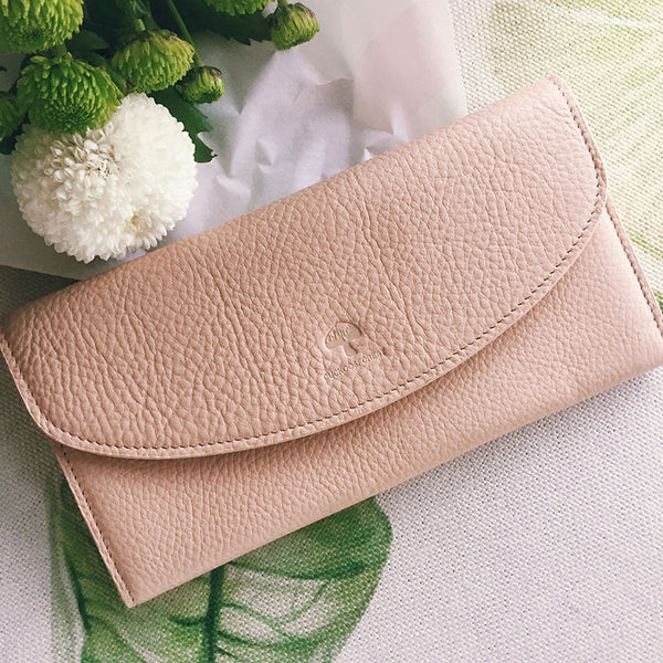 Leather Cute Womens Long Slim Wallet Bifold Long Wallet Purse For Women