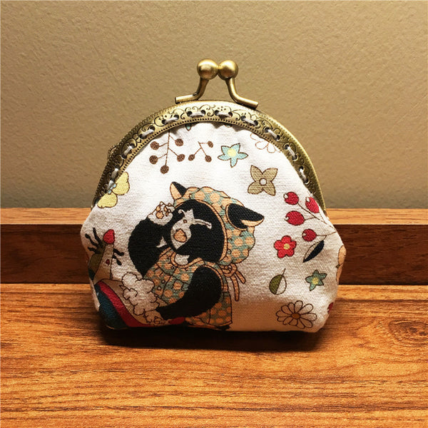 Handmade Coin Purse pouches japanese style wallet change pouch purse wallet w metal frame Clasp purse