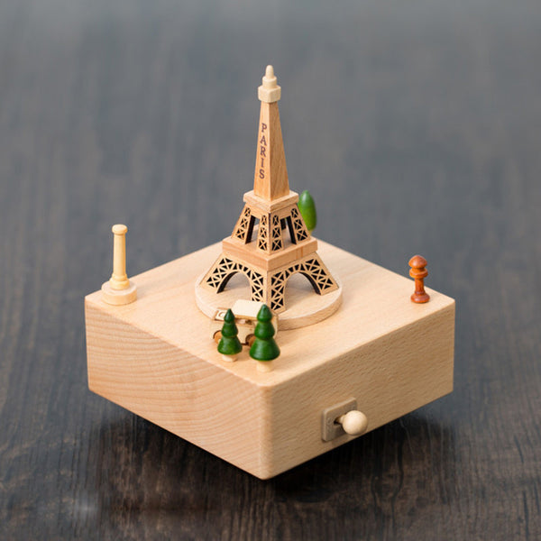 Handmade Wooden The Eiffel Tower Music Box Personalized Monogrammed Gift Custom Photo Christmas Valentines Wedding Gift Birthday Gift Baby Gift