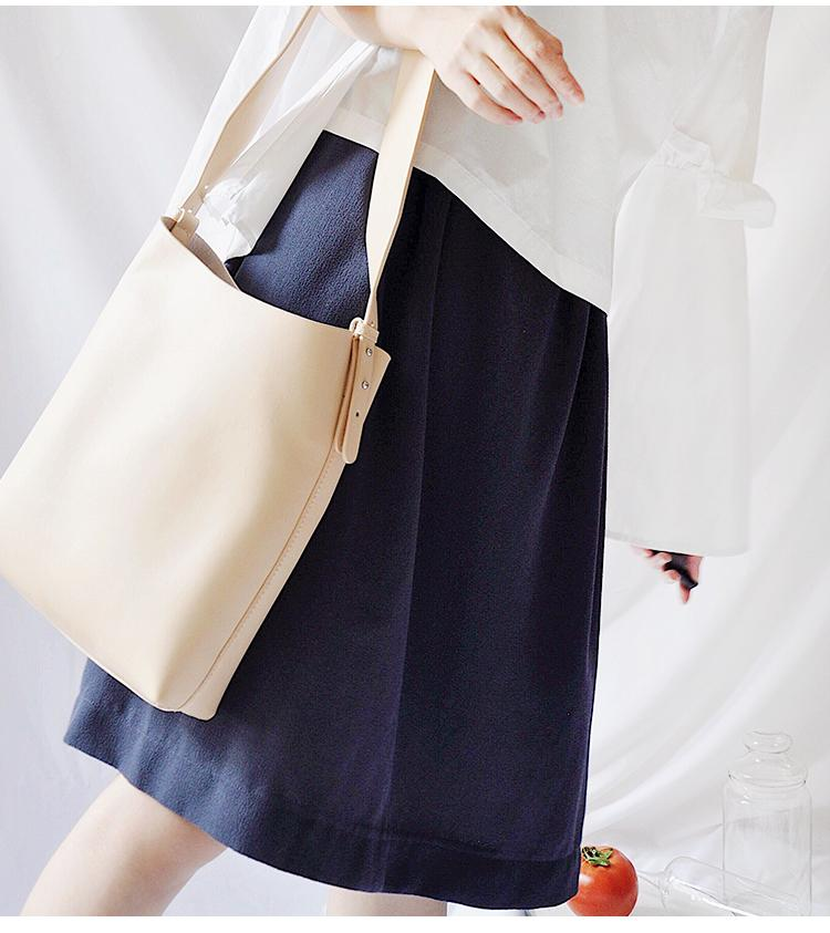 Beige Leather Women Tote Bucket Bag Shoulder Bag For Women