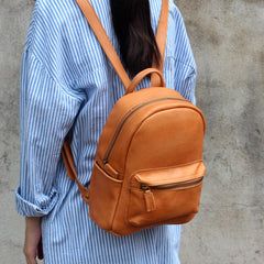 Handmade leather vintage women backpack shoulder bag satchel bag