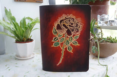 Handmade Leather Notebook Journal Tooled Rose A5 Loose-Leaf Travel Book Personalized Monogrammed Gift Custom Women Cute Journal