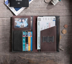 Handmade Leather Mens Travel Wallet PERSONALIZED MONOGRAMMED GIFT CUSTOM COOL Passport Leather Wallet Short Long Wallets for Men