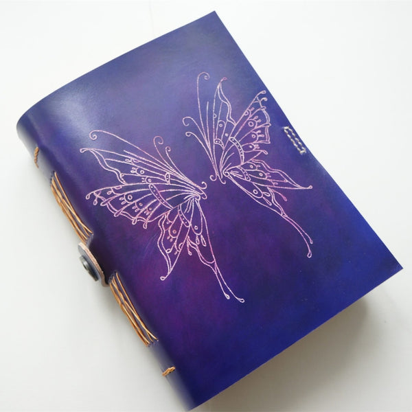 Handmade Leather Notebook Journal Tooled Butterfly Wings A5 Travel Book Personalized Monogrammed Gift Custom Women Cute Journal