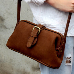 Handmade leather vintage women doctor bag shoulder bag crossbody bag