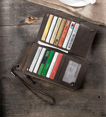 Handmade Leather Mens PERSONALIZED MONOGRAMMED GIFT CUSTOM COOL Long Chain Wallet Phone Biker Trucker Wristlet Wallet