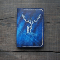 Handmade Women Cute Leather Passport Wallet Tooled Reindeer Travel Wallet Personalized Monogrammed Gift Custom Women Short Cute Small Wallet Purse
