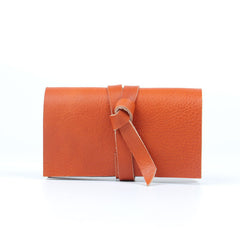 Handmade leather vintage women long wallet card coin purse wallet