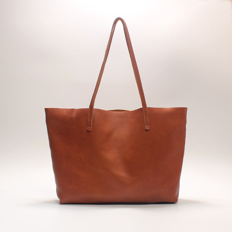 Handmade leather vintage tote women handbag shoulder bag shopper bag