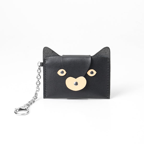 Handmade Leather Slim Card Fox Cute Black Wallet Personalized Monogrammed Gift Custom Women Short Cute Small Wallet Card Holders Purse