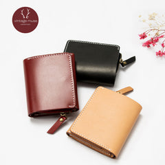 Genuine leather vintage Zipper women Short Cute Small wallet clutch purse wallet