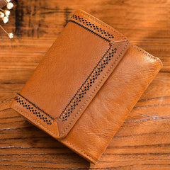 Handmade leather vintage women multi cards trifold short wallet purse wallet