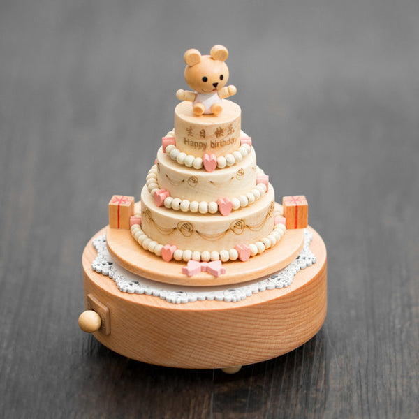 Handmade Wooden Bear Birthday Cake Music Box Personalized Monogrammed Gift Custom Photo Christmas Valentines Wedding Gift Birthday Gift Baby Gift