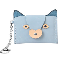 Handmade Leather Slim Card Fox Cute Blue Wallet Personalized Monogrammed Gift Custom Women Short Cute Small Wallet Card Holders Purse