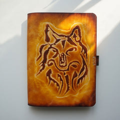 Handmade Leather Notebook Journal Tooled Wolf A5 Travel Book Personalized Monogrammed Gift Custom Women Cute Journal