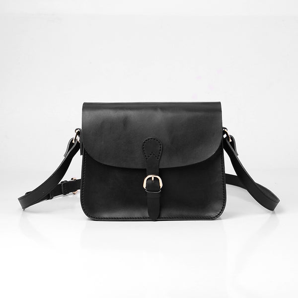 Handmade Leather Black Cute Shoulder Bag Personalized Monogrammed Gift Custom Crossbody Bag Purse