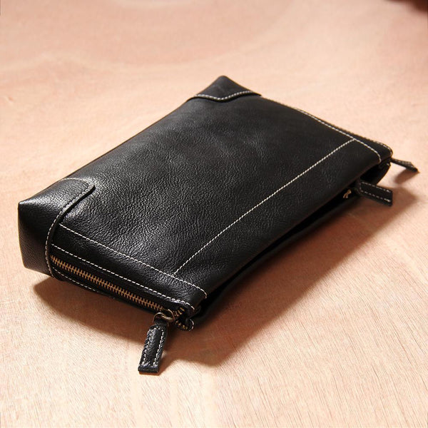 Black Leather Mens Wristlet Wallet Zipper Clutch Wallet for Men